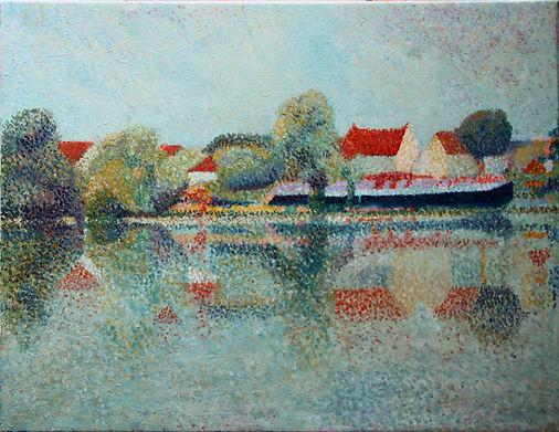 Péniche au delà de La Chaînette Auxerre Tableau pointilliste Jean-Guy Bègue