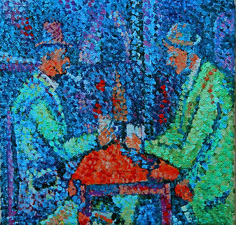 Joueurs de cartes Final Bleu pointillist