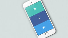 A phone has symbols for facebook and twitter social media