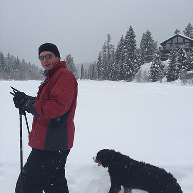 Winter Dog Walk near Main Lodge