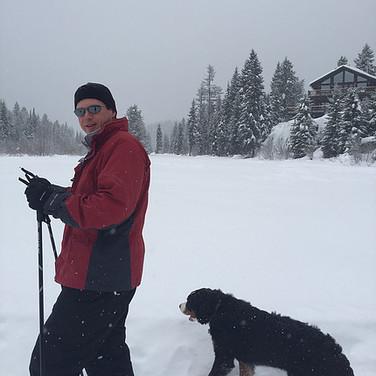 Winter Dog Walk near Main Lodge