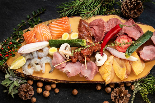 Gourmetschotel (vlees, vis + koude schotel)