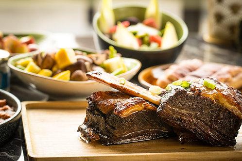 Carpaccio, BBQ short ribs, Tiramisu