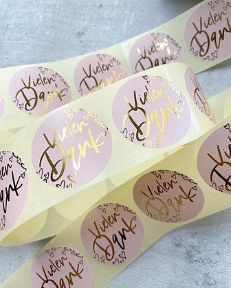 Vielen Dank Sticker Aufkleber rosa gold