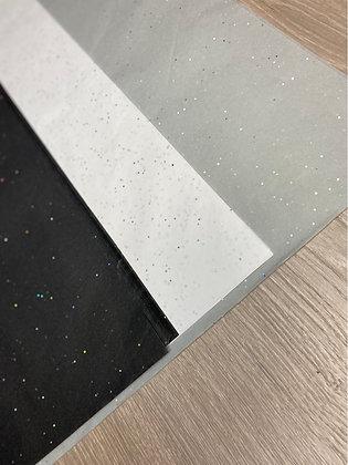 Seidenpapier Glitter weiß/ grau/ schwarz