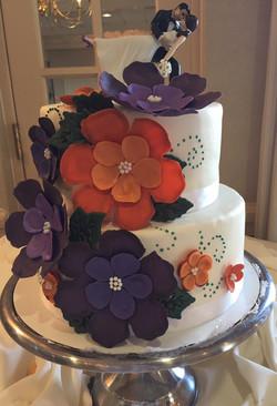 Orange & Purple Fall Wedding Cake