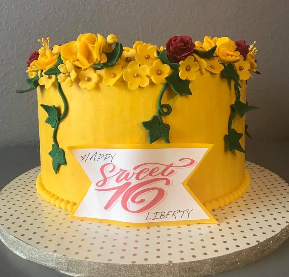 Yellow Flower and Vines Cake