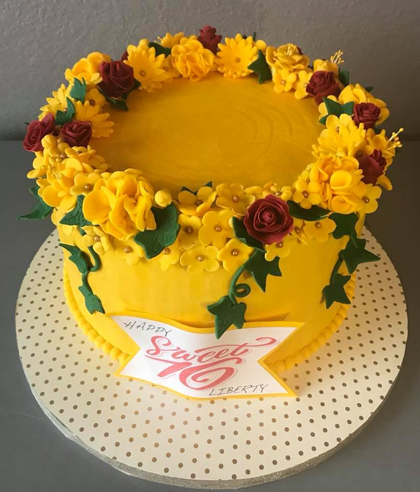 Yellow Sweet 16 Birthday Cake
