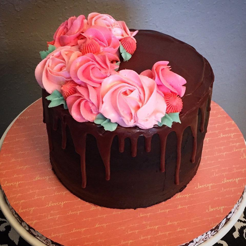 Buttercream Flowers Drip Cake