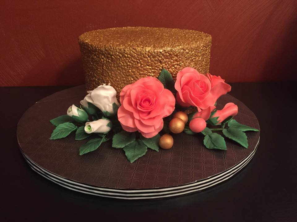 Gold Sequins & Roses Cake