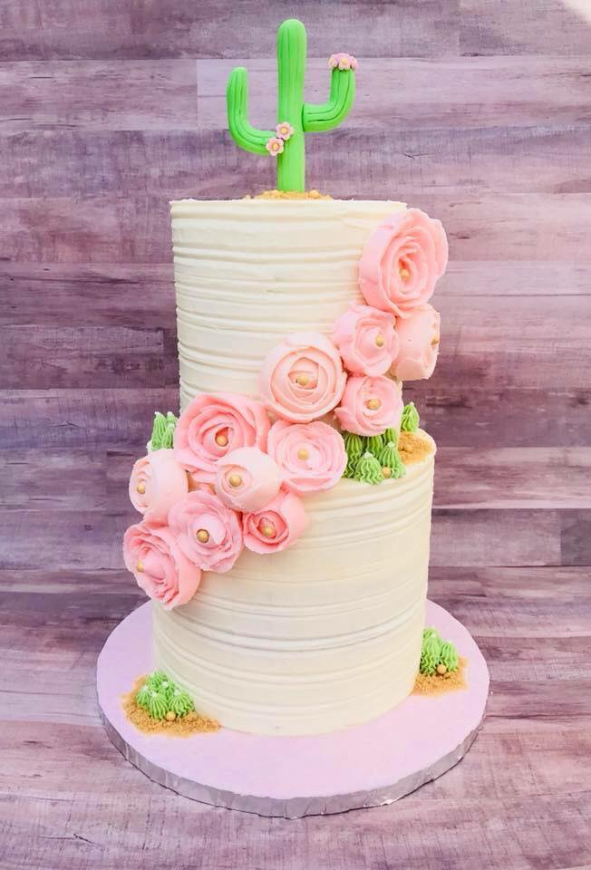 Cactus and Floral Wedding Cake