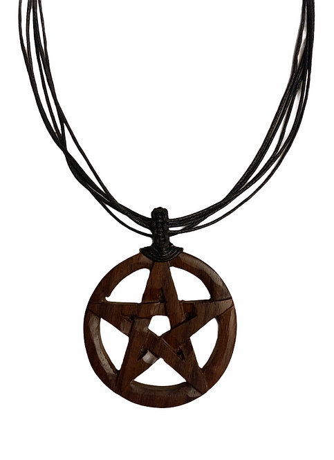 Wood Necklace - Pentagram