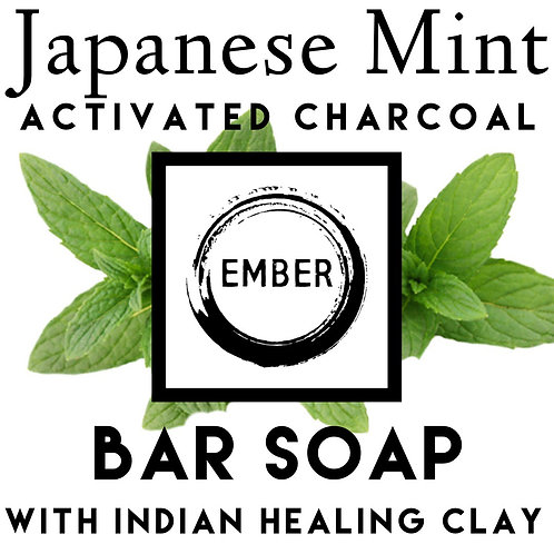 Bar Soap - Japanese Mint Charcoal with Indian Healing Clay 100gram