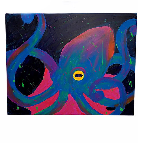 """""""Octopus With A Galaxy in its Eye"""" 20X16 Finger Painting On Canvas By Luce"""