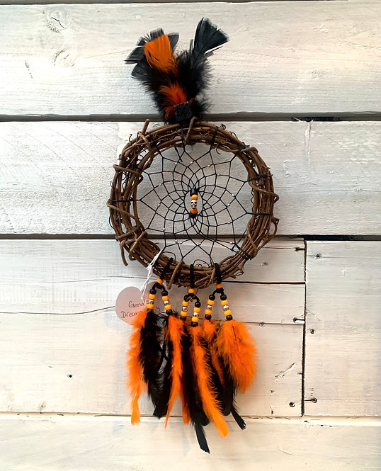 Dreamcatcher - Black & Orange with skull