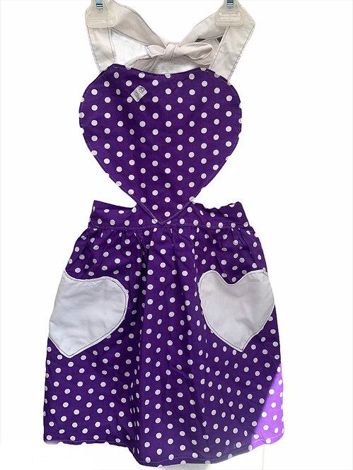 Purple Polka Dot Apron - Child sz 5/6