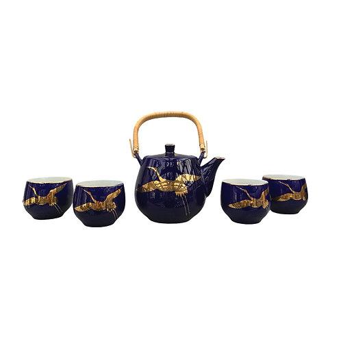 Tea Set - Navy Blue w/ Gold Crane