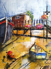Boathouse with flowers