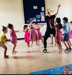 A DJ Musica Class, dancing, primary school