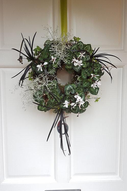 Christmas Living Wreath : Cyclamen, Ivy & Calocephalus