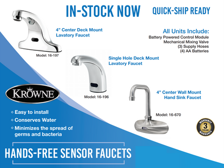 Krowne Hands-Free Faucets In Stock