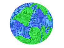 sustainable earth drawing in blue and green