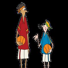 Basketteurs grand et petit