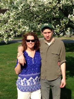 Innkeeper Alison with her son Samuel