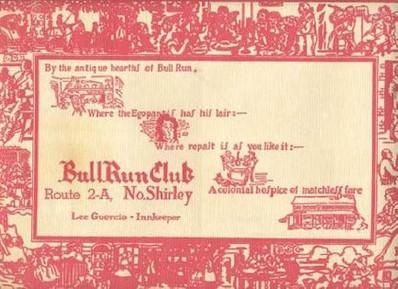 BULL RUN PLACEMAT CIRCA 1949