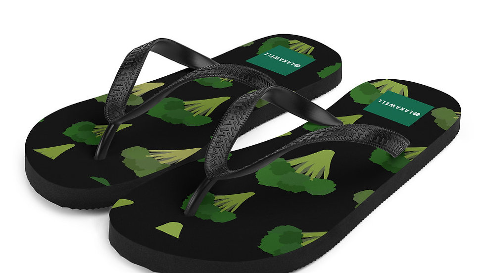 Eat Yo Greens, Black Flip-Flops