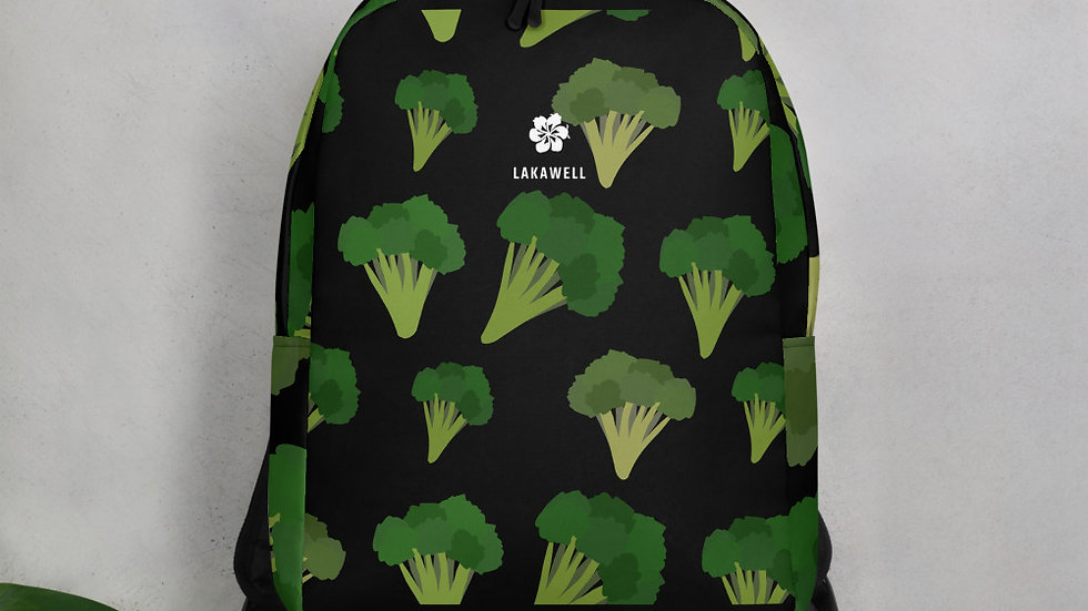 Eat Yo Greens, Black Minimalist Backpack