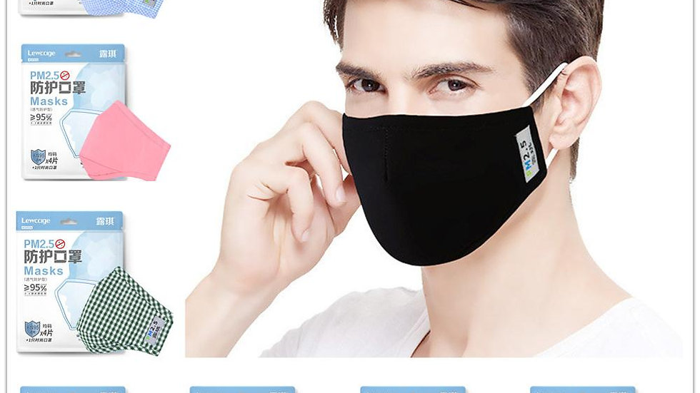 Cotton PM2.5 Black Reusable Unisex Mouth Face Mask and Carbon Filters