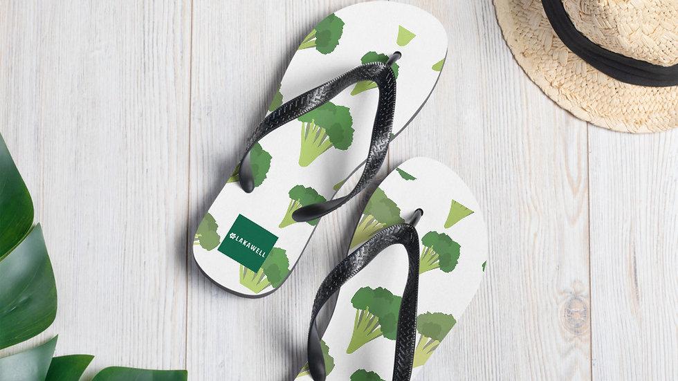 Eat Yo Greens, White Flip-Flops