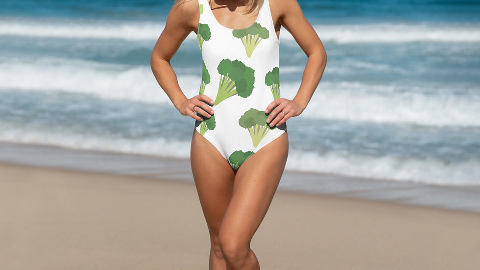 Eat Yo Greens, White One-Piece Swimsuit