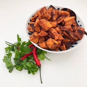 Spicy cinnamon roasted sweet potatoes