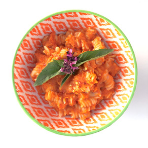 Brown rice pasta with butternut squash tomato sauce