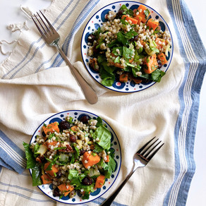 Buckwheat salad with roasted butternut squash and parsley