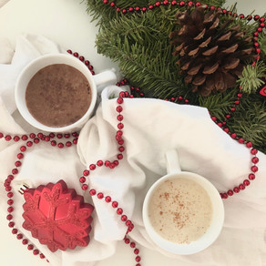 Holiday egg nog and peppermint hot chocolate