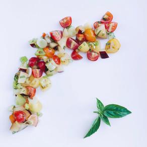 Summer tomato and plum salad