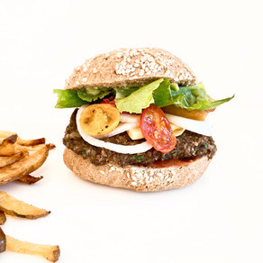 Roasted mushroom and black bean burger