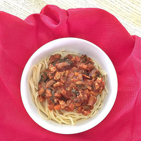 Veggie tofu spaghetti bolognese