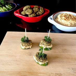Falafel cucumber sandwiches with hummus