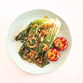 Grilled Romaine lettuce and plum salad