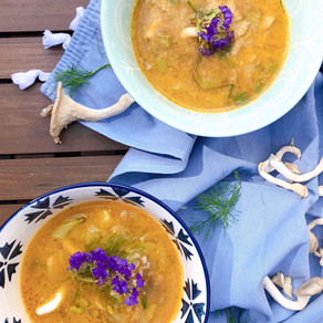 Fennel and oyster mushroom miso soup