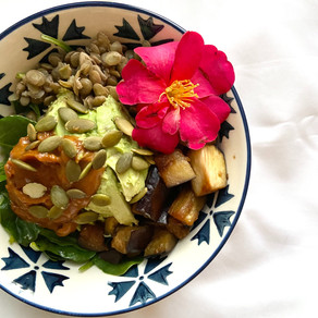 Ovulation Bowl With Lentils, Leafy Greens, Soy Eggplant, And Peanut Sauce