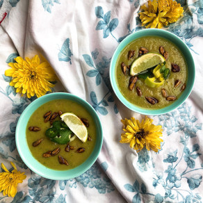 Potato leek soup spiced with jalapeño and cilantro and topped with crunchy tamari sunflower seeds