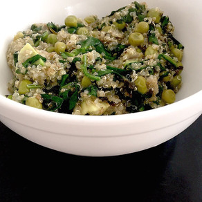 Quinoa pea bowl with mint and lemon