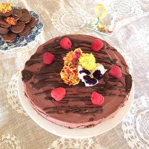 Baby Zand's raw chocolate raspberry birthday cake