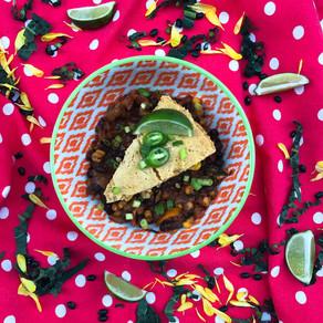 Kale bean chili with cornbread