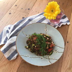 Lentil salad with sun dried tomato dill dressing